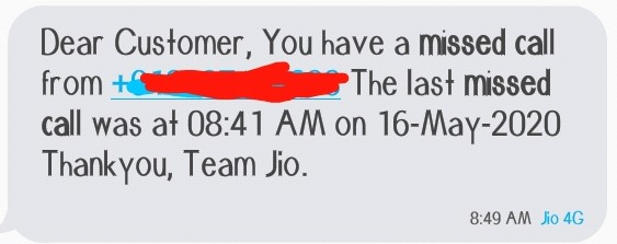 Jio missed call alert message