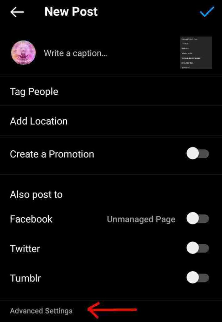 Where is Advanced Settings on Instagram